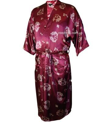 Шелковый халат бордовый