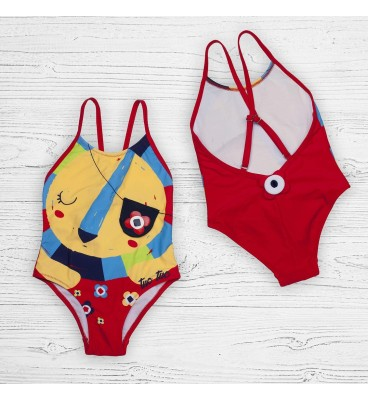 Детский купальник 19121 слитный лев красный