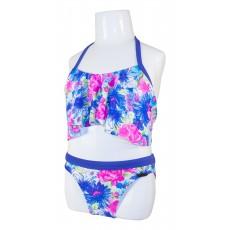 Детский купальник DZ-57 раздельный для девочек фиолетовые цветы