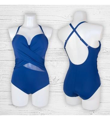 Женский купальник 695013 слитный синий