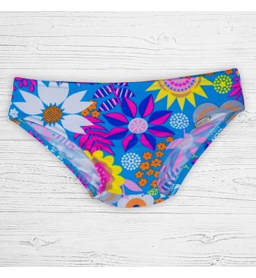 Детские плавки 88-2 брифы для девочек крупный голубой цветок