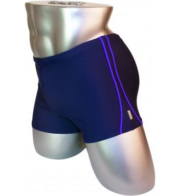 Мужские плавки 79117 боксеры синий фиолетовая вставка