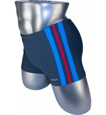 Мужские плавки 79188-1 боксеры баталы серый голубая/красная/голубая