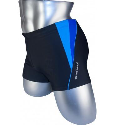 Мужские плавки 79197 боксеры черный голубая/фиолетовая вставка