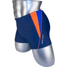 Мужские плавки 79197 боксеры синий оранжевая/фиолетовая вставка