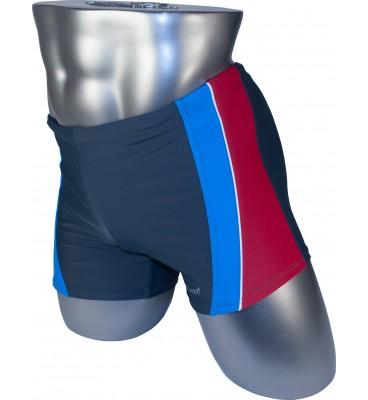 Мужские плавки 79202 боксеры серый голубая/красная вставка