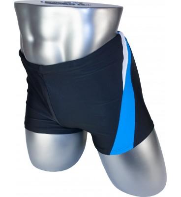 Мужские плавки 79328 боксеры черный голубая/белая вставка
