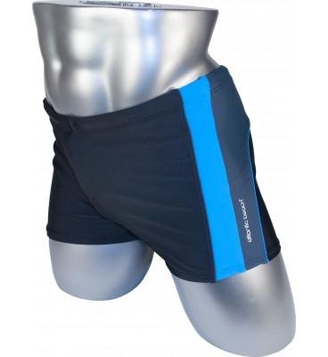 Мужские плавки 79329 боксеры черный голубая вставка