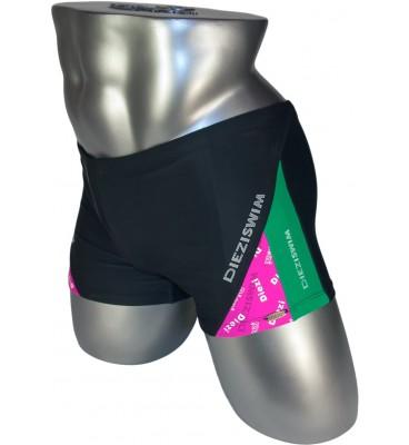 Подростковые плавки DZ-19 боксеры для мальчиков черный/зеленый,малиновый