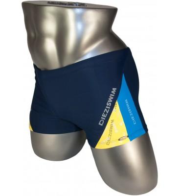 Подростковые плавки DZ-19 боксеры для мальчиков синий/ желтый,голубой