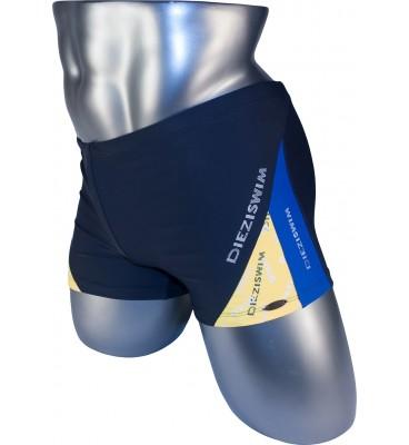 Подростковые плавки DZ-19 боксеры для мальчиков серый/ желтый, синий