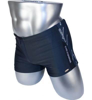 Подростковые плавки DZ-17 боксеры для мальчиков черный с серым